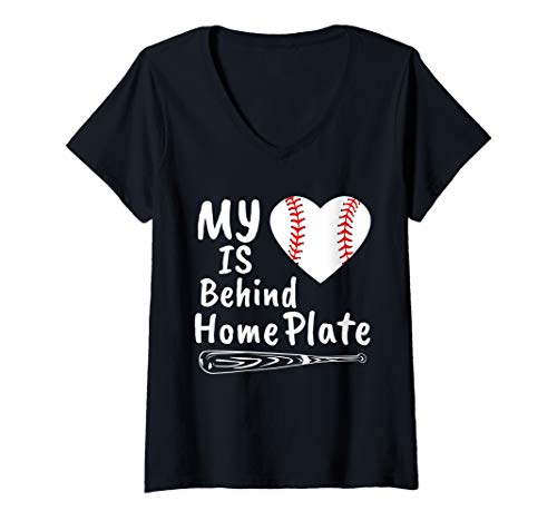 Womens My Heart Is Behind Home Plate Baseball Bat Mom Dad Gift V-Neck T-Shirt