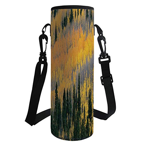 iPrint Water Bottle Sleeve Neoprene Bottle Cover,Fall,Colorful Aspen Forest in Colorado Rocky Mountains Western Wilderness USA Theme,Green Yellow Grey,Fit for Most of Water Bottles by iPrint