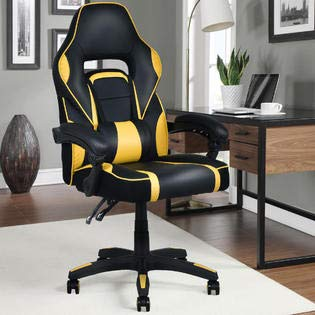 Executive Racing Style PU Leather Gaming Chair High Back Recliner Office Yellow Apontus