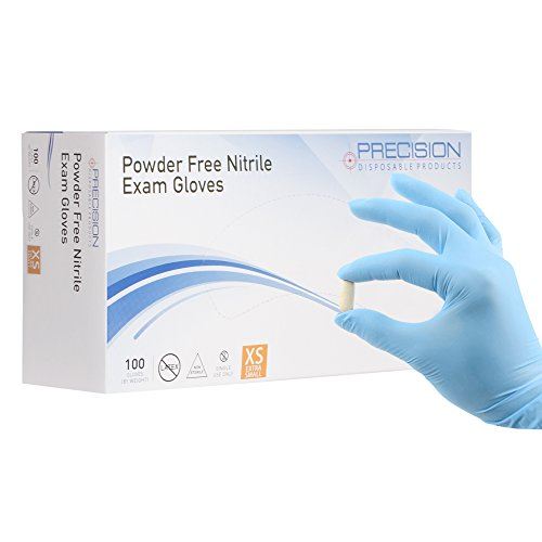 Precision Disposables 100 Piece Nitrile Exam Gloves XS 4 mil Thickness, Powder-Free, Non-Latex, Fingertip-Textured, Medical Grade, Food Safe