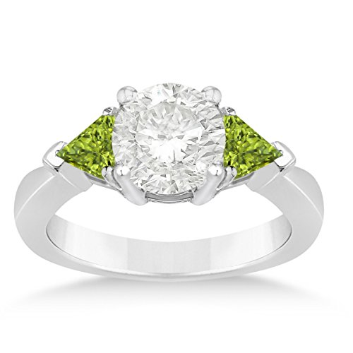 Allurez Peridot Three Stone Trilliant Engagement Ring 14k White Gold (0.70ct)