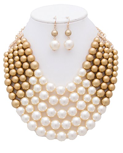 CN0175 WOMEN'S FASHIONABLE MULTI COLOR BLOCK PEARL NECKLACE AND EARRINGS SET (CREAM (Gold Toggle Necklace)