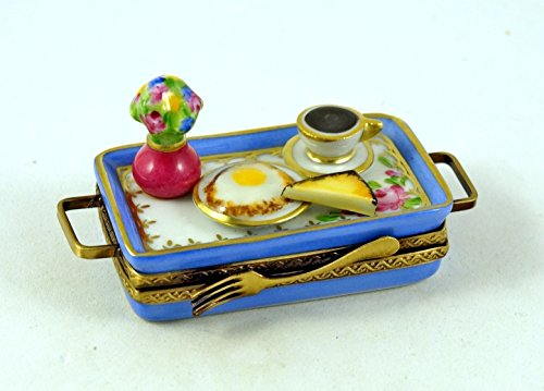 Authentic French Porcelain Hand Painted Limoges box Breakfast Tray with Coffee Cup Fried Egg Toast Vase with Flowers