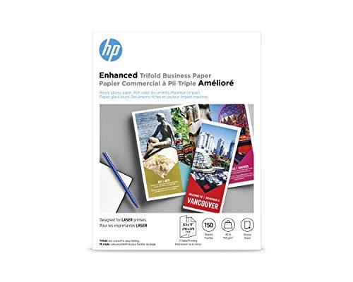 HP Q6612A Tri-Fold Laser Brochure Paper, 97 Brightness, 40lb, 8-1/2 x 11, White (Pack of - Hp Glossy Brochure Paper