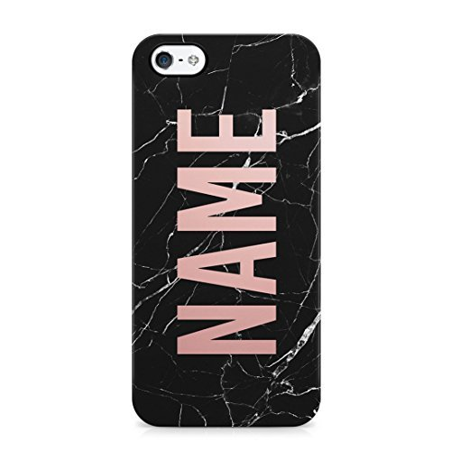 Name Create Your Own Customized Case Black Marble Protective Hard Plastic Case Cover For iPhone 5/iPhone 5s/iPhone SE ()