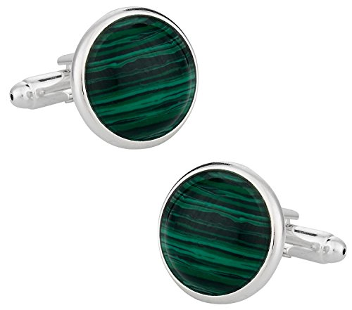 Cuff-Daddy Domed Malachite Cufflinks with Sterling Silver Plate with Presentation Box (Malachite Cufflinks Set)