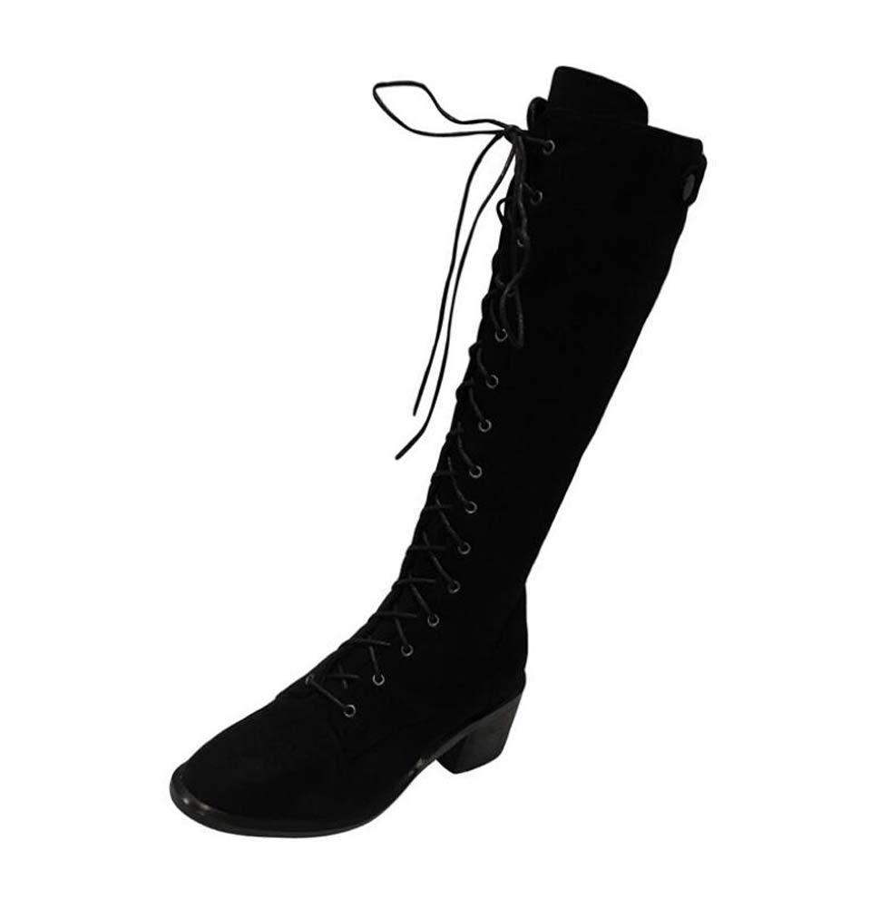 Mamrar Knie High Stiefel 5Cm Chunkly Heel Knight Stiefel Frauen Square Toe schuhelace Reißverschluss Dress Stiefel Motorradstiefel EU-Größe 34-40