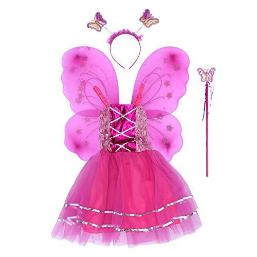 60c55cd74 BESTOYARD Disfraz de Princesa de Mariposa para Niña con Vestido de Tutú  Alas Varita y Diadema