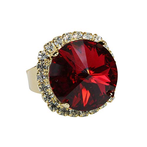 Move on Women Big Round Faux Ruby Cubic Zirconia Inlaid Finger Ring Fashion Jewelry Gift US 7