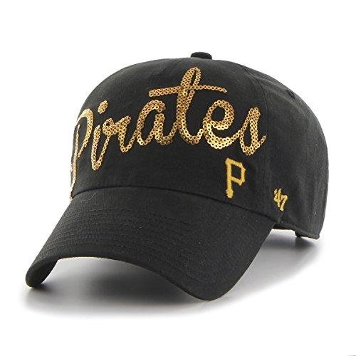 MLB Pittsburgh Pirates Women's Sparkle Script Clean Up Adjustable Hat, Black (Pirates Hats)