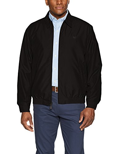 Chaps Men's Classic Fit Full-Zip Microfiber Jacket, American Black, M (Jacket Fit Zip Full)