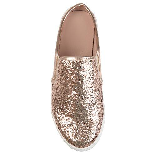 Collezione Journee Womens Glitter Slide Sneakers In Oro Rosa
