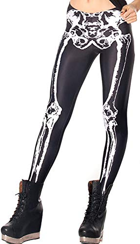 Sister Amy Women's High Human Skeleton Digital Printted Ankle Elastic Tights Legging -