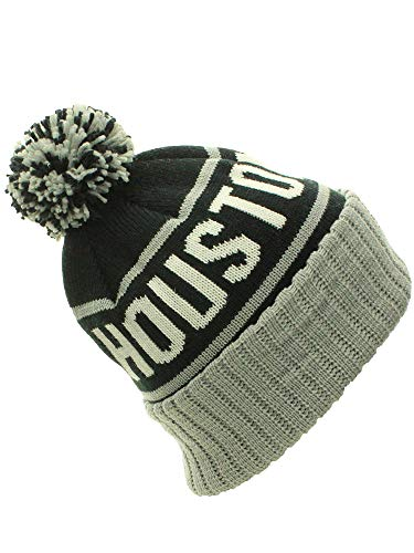 American Cities Houston TX Cuff Cable Knit Pom Pom Beanie Hat Cap (One Size, Houston Black/Gray)