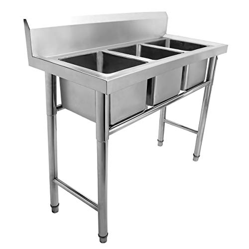 Tengchang Commercial 304 Stainless Steel Sink Austenitic Triple Bowl 3 Compartment Kitchen