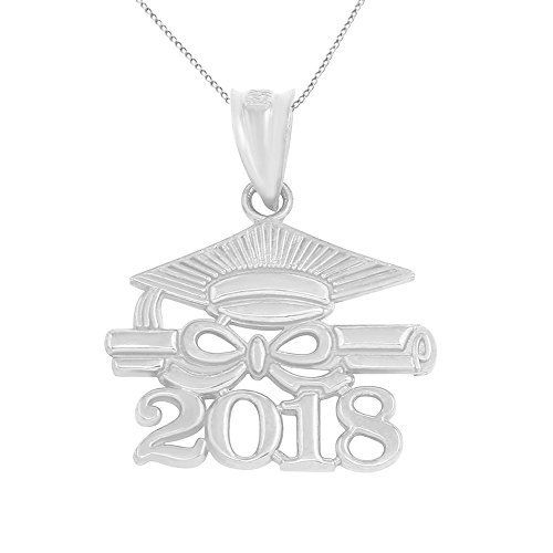 925 Sterling Silver Diploma & Cap Charm 2018 Graduation Pendant Necklace, 18