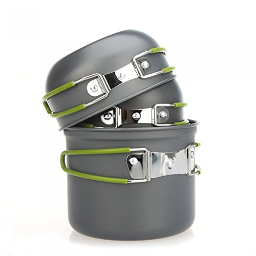 Ezyoutdoor 4pcs Outdoor Camping Hiking Cookware Backpacking Cooking Picnic Bowl Pot Pan Set