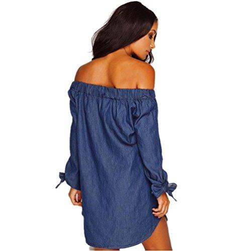 FEITONG Botones en el hombro mujer de manga larga del vestido del dril de algodón azul oscuro