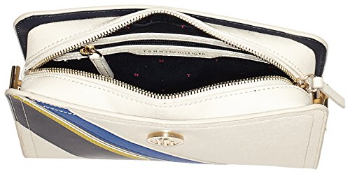 Tommy Hilfiger Th Prep Boxy Crossover Stripe - Borse a tracolla Donna, Beige (Turtle Dove/Stripe), 7x17x24.5 cm (B x H T)