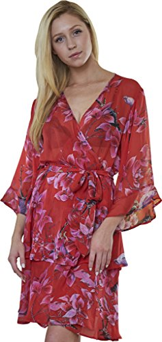 Dynasty Robes 100% Silk, Women's Printed Short Red Robe With Kimono Collar-softly (Luxury Dynasty Silk)