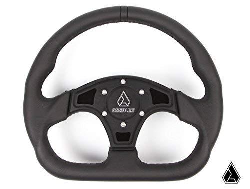 Assault Industries 100005SW0201 Black Stitch Ballistic D Steering Wheel with Billet Front Plate