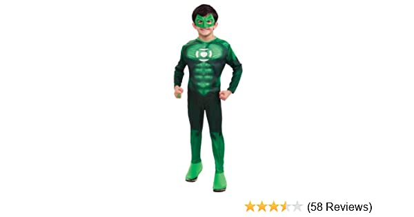 Green Lantern Childs Deluxe Hal Jordan Costume with Muscle Chest - One Color - Large
