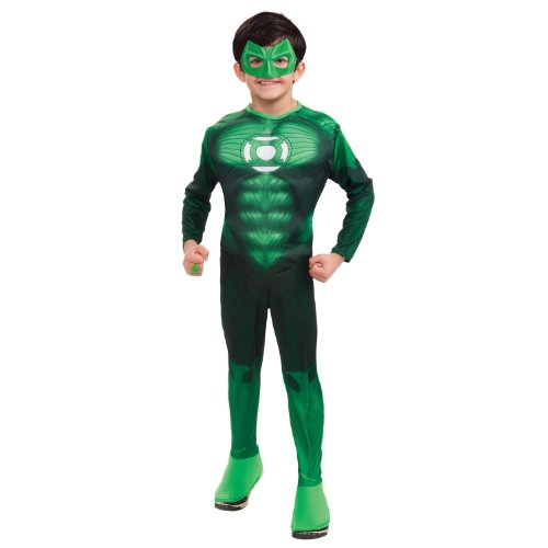 Green Lantern Child's Deluxe Hal Jordan Costume with Muscle Chest - One Color - Medium -