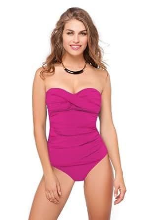 Profile by Gottex Women's Tutti Frutti Bandeau Tankini Top Magenta 6