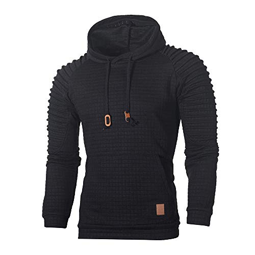 WUAI Clearance Men's Outdoors Jacket Running Sports Plaid Pullover Regular Fit Hooded Sweatshirt Casual Outwear(Black,US Size 4XL = Tag 5XL)