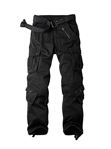 OCHENTA Men's Cotton Military Cargo Pants, 8 Pockets Casual Work Combat Trousers #3357 Black 34