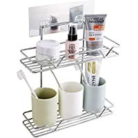 Zonku Stainless Steel Double Layer Bathroom Shower Shelf Organizer Wall Mounted Bathroom Soap, Shampoo, Toothbrush Holder Rack Organizer with Strong Magic Sticker- Silver