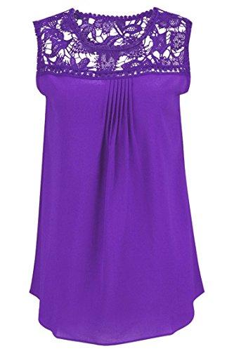 Manzocha Women's Lace Chiffon T Shirt Stitching Blouse Hollow Out Tops – Medium, Purple