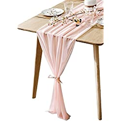 BOXAN Gorgeous Light Pink Table Runner 30x120 Inch for Blush Romantic Wedding Decor, Bridal Shower, Baby Shower, Birthday Party Cake Table Decorations