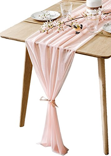BOXAN Gorgeous Light Peach Table Runner 30x120 Inch for Blush Romantic Wedding Decor, Bridal Shower, Baby Shower, Birthday Party Cake Table Decoration]()