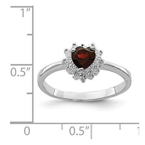 (Sterling Silver Rhodium Plated Heart Garnet Ring)