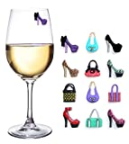 Girls Night Out Party Magnetic Wine Charms for Glasses Set of 12 Drink Markers for Cocktails Martinis and Stemless Glassware