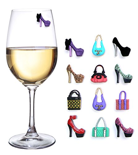 Girls Night Out Party Magnetic Wine Charms for Glasses Set of 12 Drink Markers for Cocktails Martinis and Stemless -