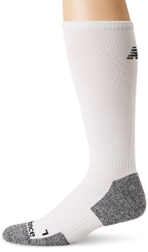 New Balance Cushioned Running Crew Socks (1 Pair), White/Grey, Large