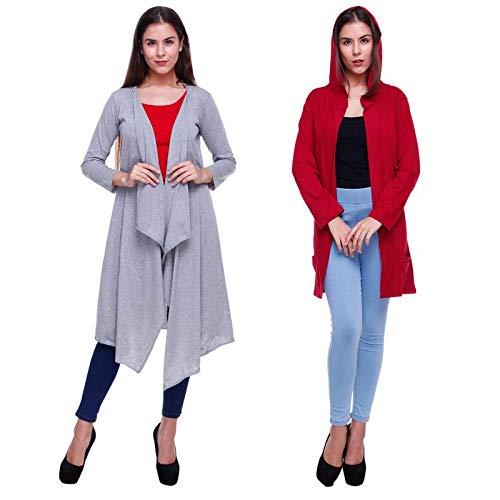 Rane Women's Solid Cotton Combo Long Shrug
