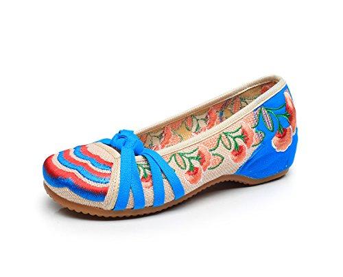 Donna Ricamate Dell'aumento Stile Scarpe Moda Comodo Tendina Blue Etnico A Casual Desy Suola All'interno Da qS5p8
