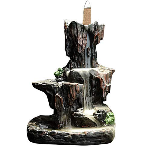 LEAFIS Waterfall Monk Backflow Incense Burner Mountain Tower Incense Holders for Home Office Yoga Aromatcherapy Ornamen (with 10 Cones) by LEAFIS (Image #2)