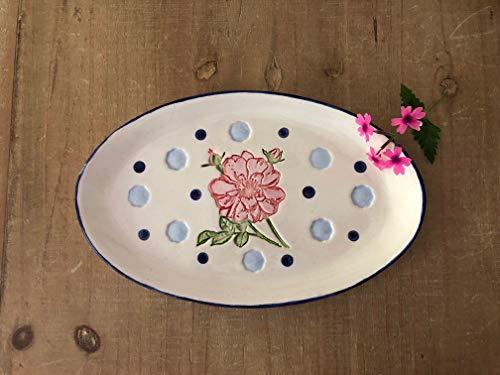 Handmade Pink Rose Serving Dish, Pottery