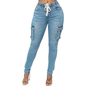 356439574af SODIAL Jean Crayon Multi-Poches Extensible a Taille elastique De Cordon  Pour Femme Pantalon Pieds