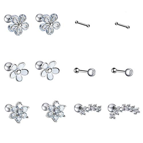 (JDXN 5 Pair Stainless Steel Ear Tragus Helix Conch CartilagePiercing CZ Flower Earrings for Women (Style 2))