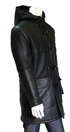 Hommes Noir Shearling Chaud Hiver Real en Peau de Mouton Cuir Manteau Duffle BAIN