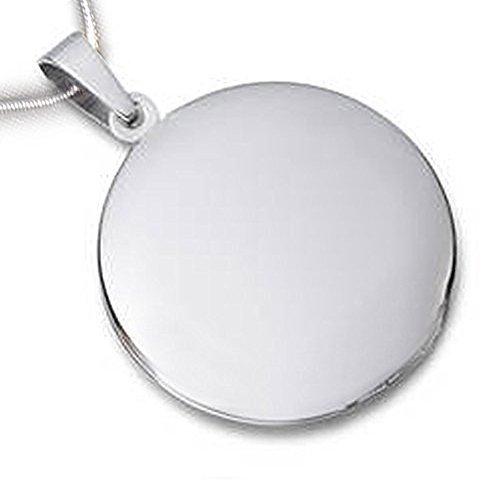 Medallón redondo brillante acero inoxidable cadena: Amazon ...