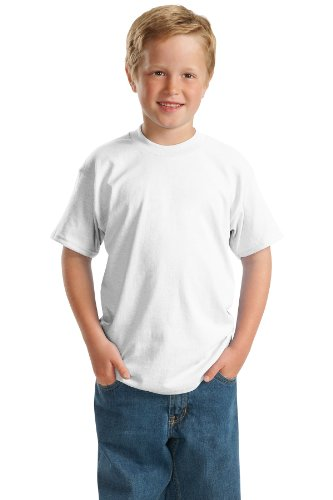- Hanes 5.2 oz Youth COMFORTSOFT HEAVYWEIGHT 50/50 T-Shirt, M-White