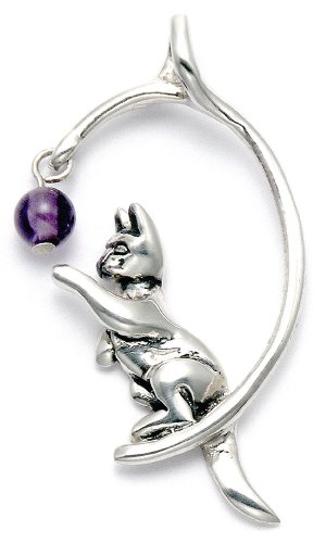 Sterling Silver Cat Playing w/Purple Crystal Bead Pendant