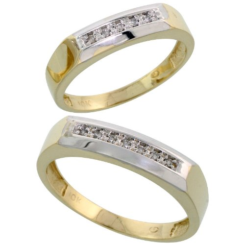 10k Yellow Gold Diamond Wedding Rings Set for him 5 mm and her 4.5 mm 2-Piece 0.07 cttw Brilliant Cut, ladies sizes 5 – 10, mens sizes 8 – 14