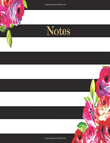 Notes: Gold glitter Striped Flower Notebook (Composition Book Journal) (8.5 x 11 Large) Lined Notebook ePub fb2 ebook